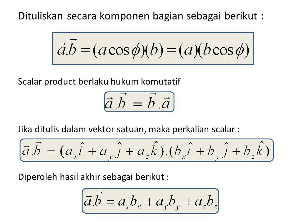 Dituliskan secara komponen bagian sebagai berikut : Scalar product berlaku hukum komutatif Jika ditulis dalam vektor satuan, maka perkalian scalar : D