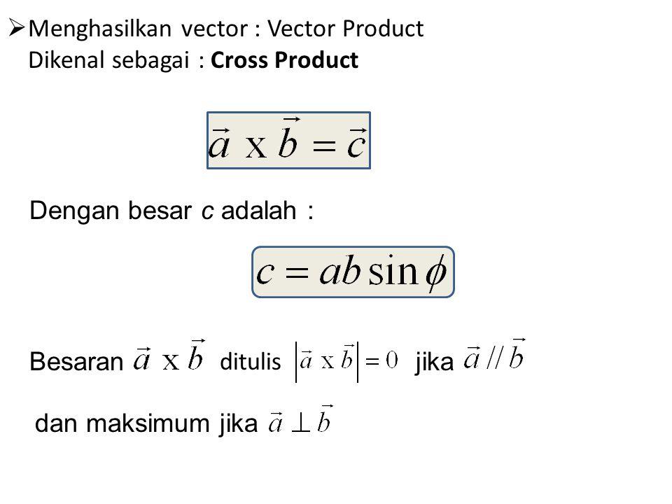  Menghasilkan vector : Vector Product Dikenal sebagai : Cross Product Dengan besar c adalah : Besaran ditulis jika dan maksimum jika