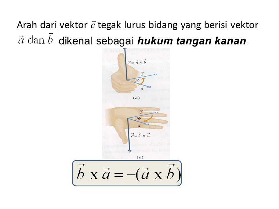 Arah dari vektor tegak lurus bidang yang berisi vektor dikenal sebagai hukum tangan kanan.