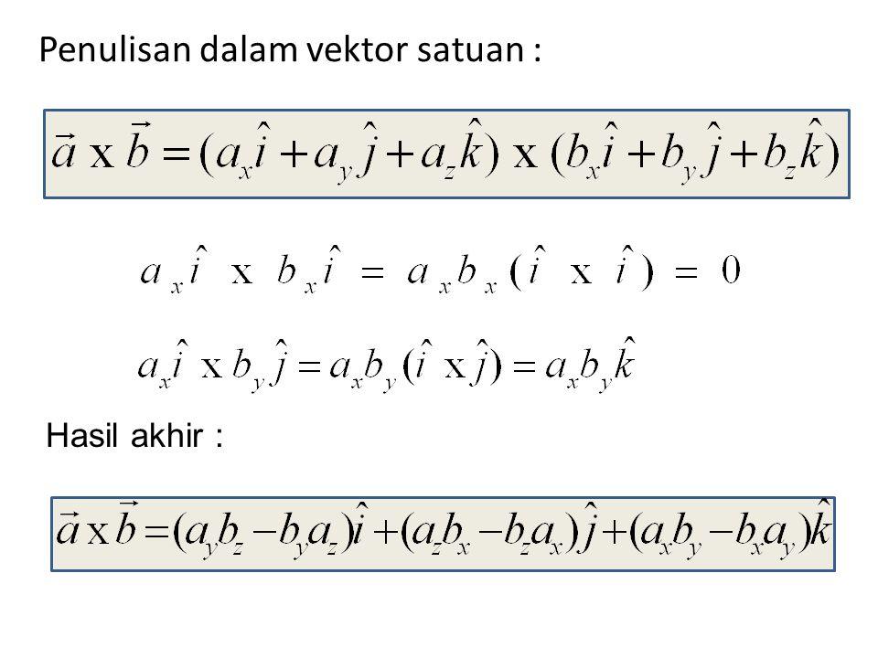 Penulisan dalam vektor satuan : Hasil akhir :