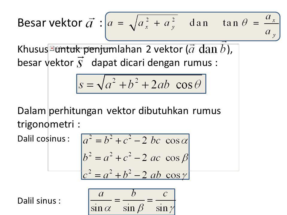 Besar vektor : Khusus untuk penjumlahan 2 vektor ( ), besar vektor dapat dicari dengan rumus : Dalam perhitungan vektor dibutuhkan rumus trigonometri