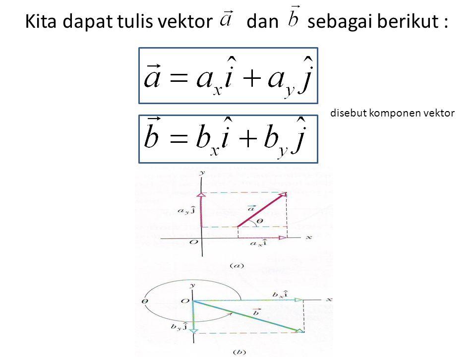 Kita dapat tulis vektor dan sebagai berikut : disebut komponen vektor