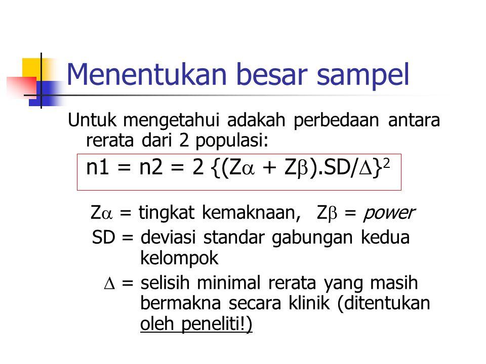 Menentukan besar sampel Untuk mengetahui adakah perbedaan antara rerata dari 2 populasi: n1 = n2 = 2 {(Z  + Z  ).SD/  } 2 Z  = tingkat kemaknaan,