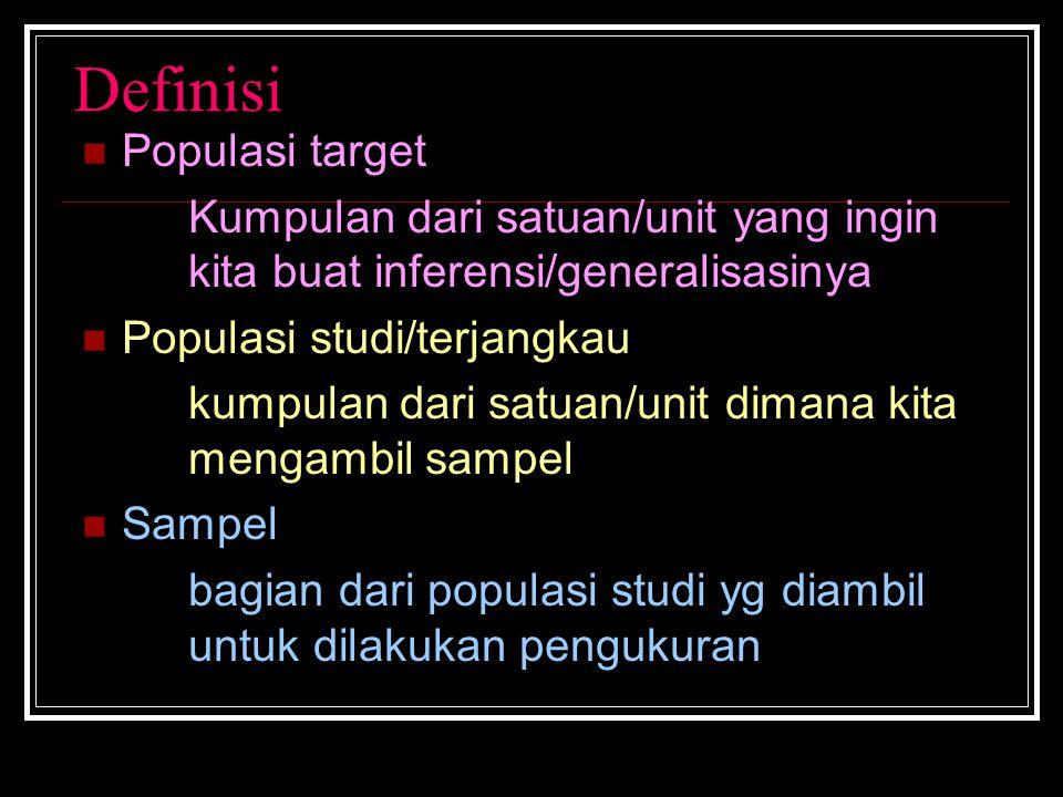Definisi Populasi target Kumpulan dari satuan/unit yang ingin kita buat inferensi/generalisasinya Populasi studi/terjangkau kumpulan dari satuan/unit