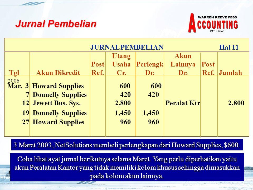 18 3 Maret 2003, NetSolutions membeli perlengkapan dari Howard Supplies, $600.