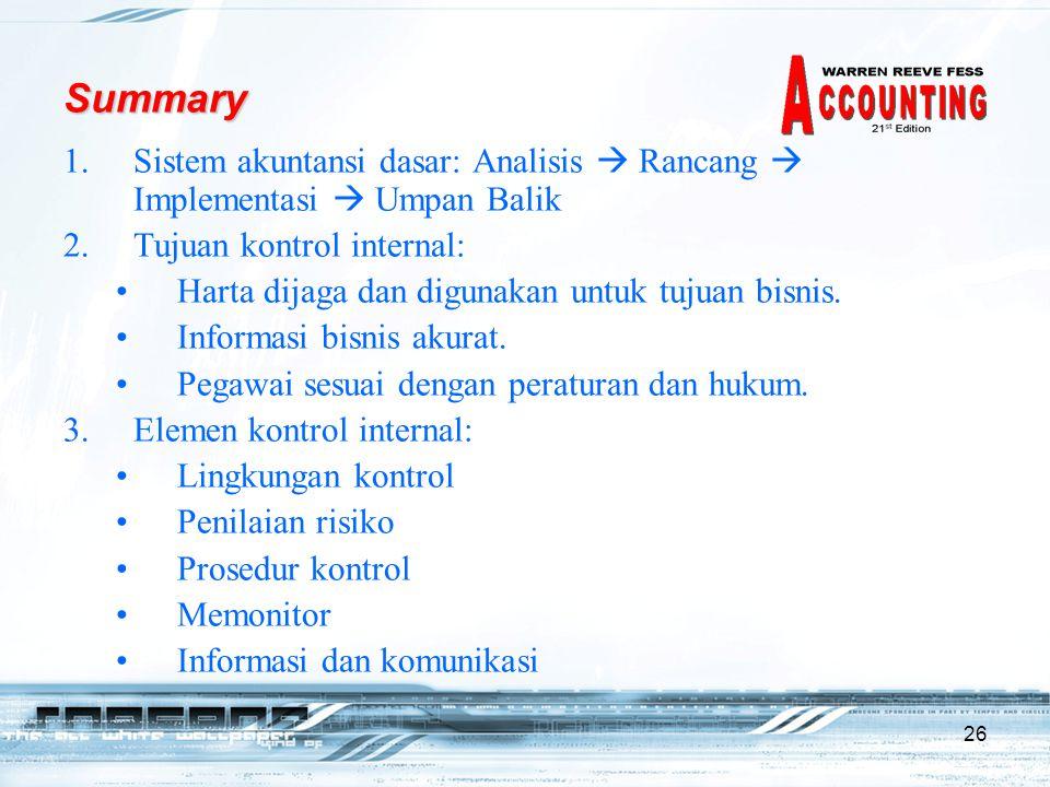26 Summary 1.Sistem akuntansi dasar: Analisis  Rancang  Implementasi  Umpan Balik 2.Tujuan kontrol internal: Harta dijaga dan digunakan untuk tujuan bisnis.