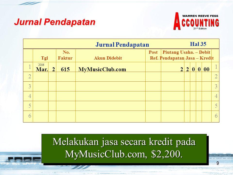 10 Posting Jurnal Pendapatan 123456123456 123456123456 2006 Mar.