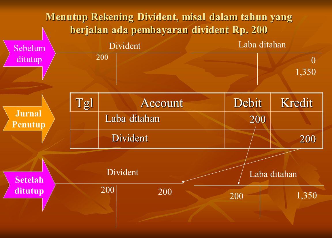 Menutup Rekening Divident, misal dalam tahun yang berjalan ada pembayaran divident Rp. 200 Divident Laba ditahan 200 0 1,350 200 Sebelum ditutup TglAc