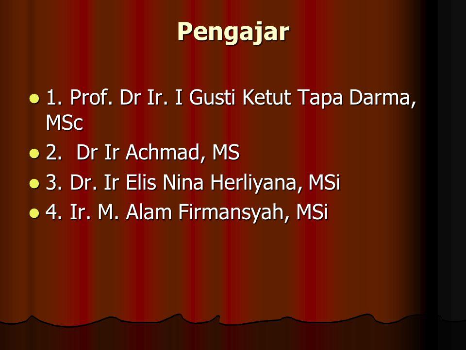 Pengajar 1.Prof. Dr Ir. I Gusti Ketut Tapa Darma, MSc 1.