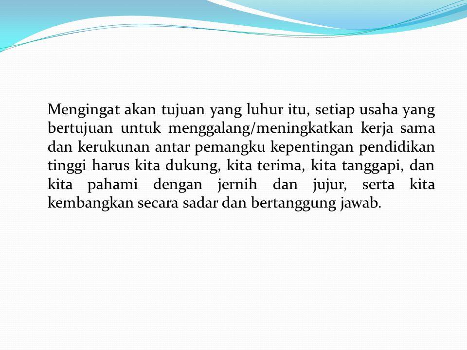 I.Peran Sentral PTS Indonesia Semakin tersebar pengetahuan dan pengalaman masyarakat bahwa, lulusan fakultas-fakultas tertentu dari perguruan tinggi swasta (PTS) bukan saja dinilai tidak kalah mutunya dari PTN, akan tetapi mengunggulinya.