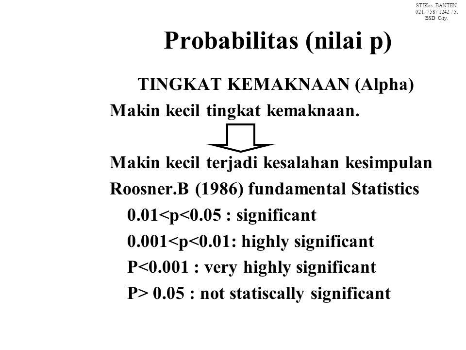 Probabilitas (nilai p) TINGKAT KEMAKNAAN (Alpha) Makin kecil tingkat kemaknaan.