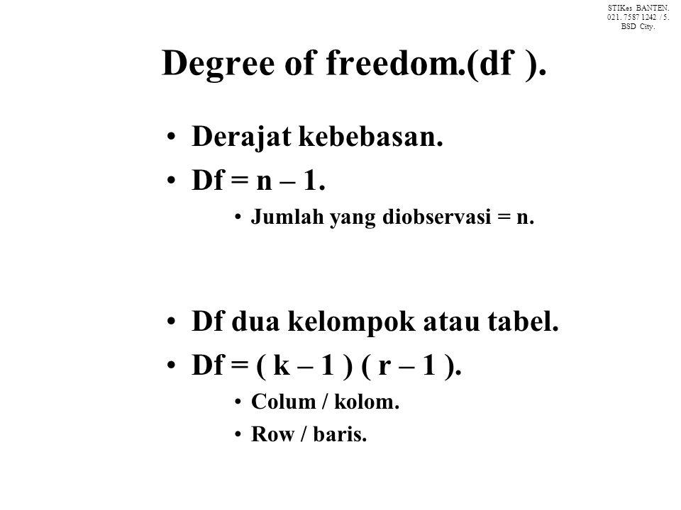 Degree of freedom.(df ).Derajat kebebasan. Df = n – 1.