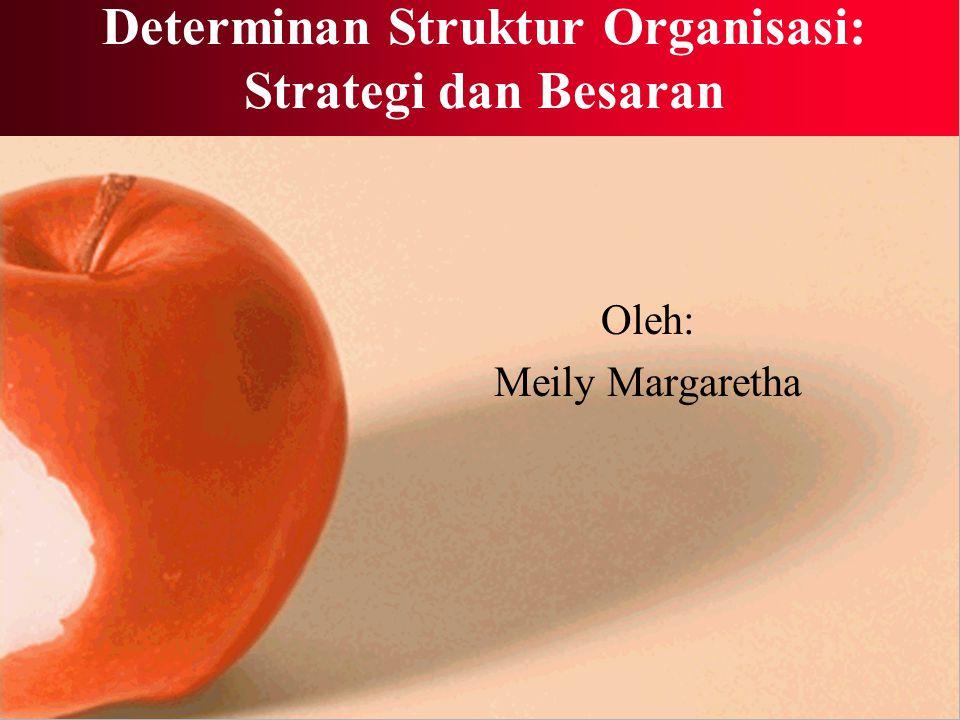 Besaran dan Formalisasi Formalisasi bertambah seiring pertumbuhan besaran organisasi Makin besar organisasi, maka akan makin diformalisasi pula perilakunya melalui standarisasi