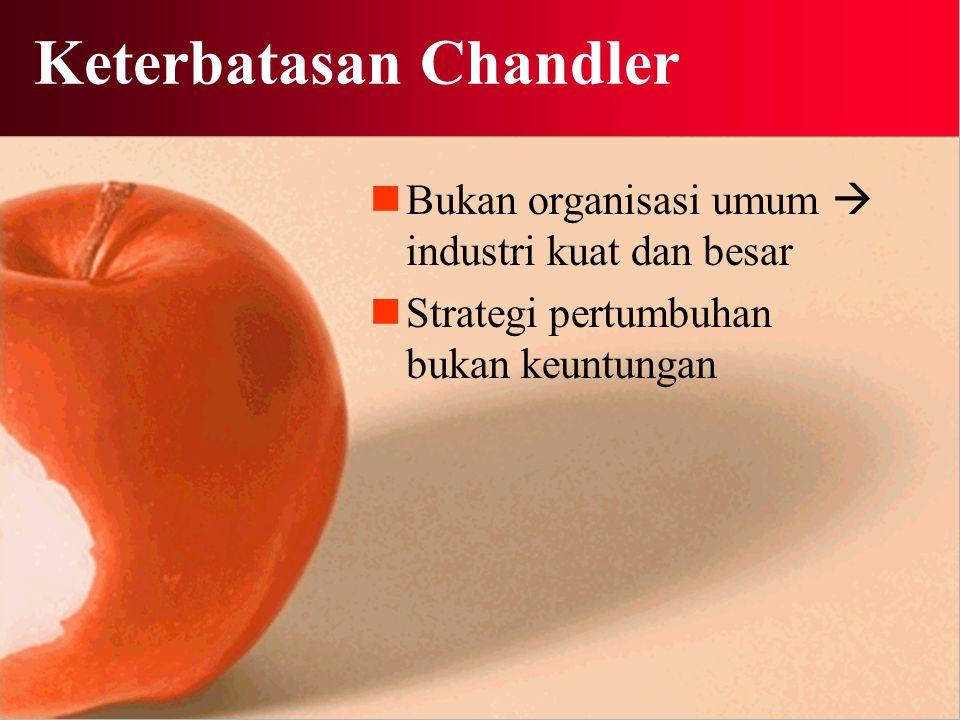 Keterbatasan Chandler Bukan organisasi umum  industri kuat dan besar Strategi pertumbuhan bukan keuntungan