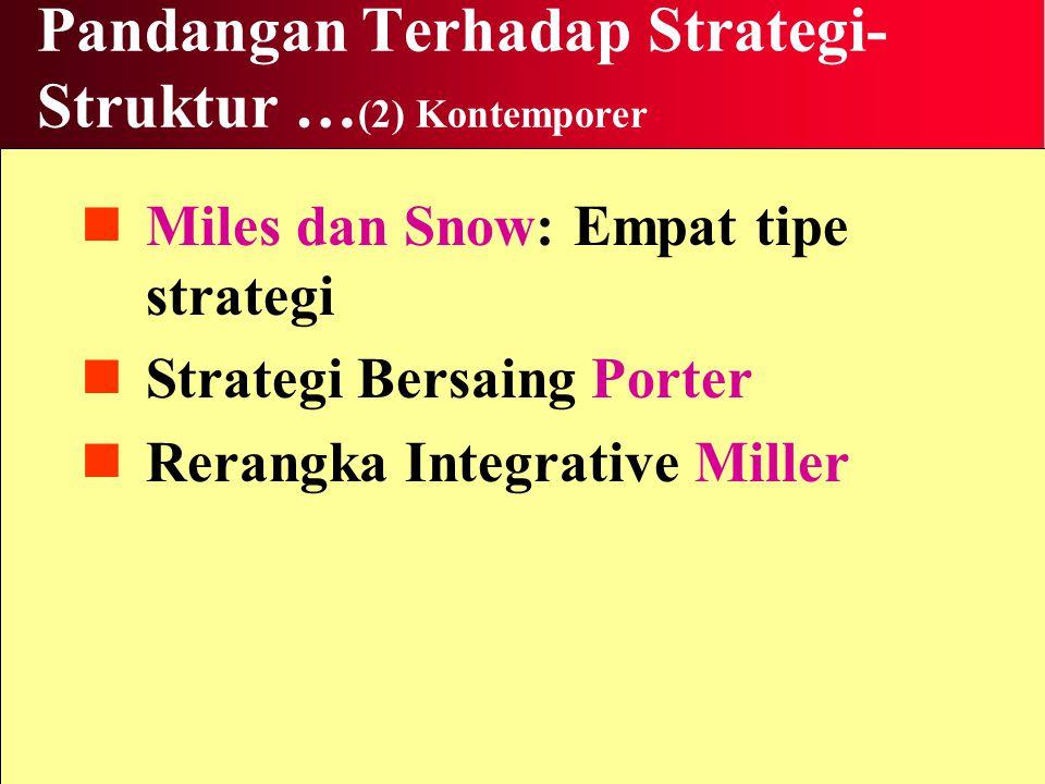 Pandangan Terhadap Strategi- Struktur … (2) Kontemporer Miles dan Snow: Empat tipe strategi Strategi Bersaing Porter Rerangka Integrative Miller