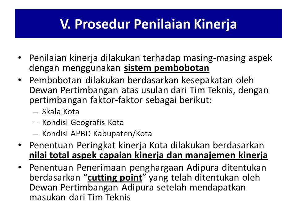 V. Prosedur Penilaian Kinerja Penilaian kinerja dilakukan terhadap masing-masing aspek dengan menggunakan sistem pembobotan Pembobotan dilakukan berda