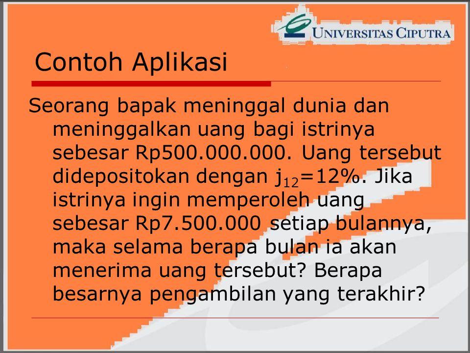 Contoh Aplikasi Seorang bapak meninggal dunia dan meninggalkan uang bagi istrinya sebesar Rp500.000.000.