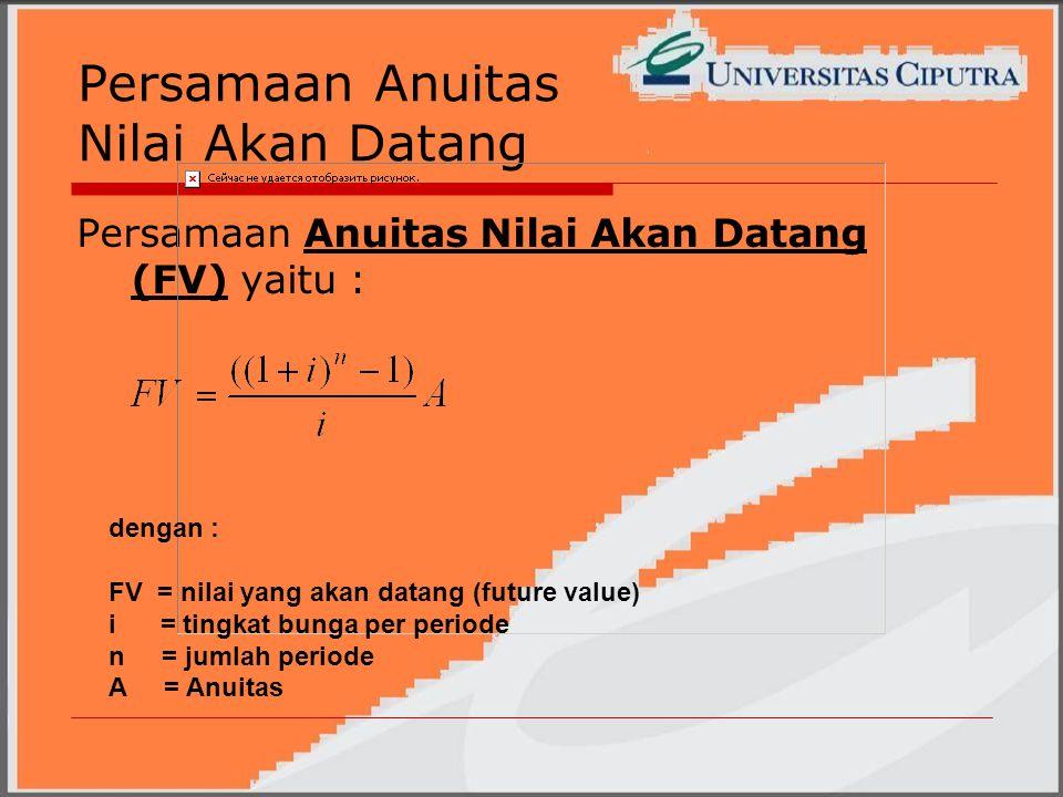 Persamaan Anuitas Nilai Akan Datang Persamaan Anuitas Nilai Akan Datang (FV) yaitu : dengan : FV = nilai yang akan datang (future value) i = tingkat bunga per periode n = jumlah periode A = Anuitas