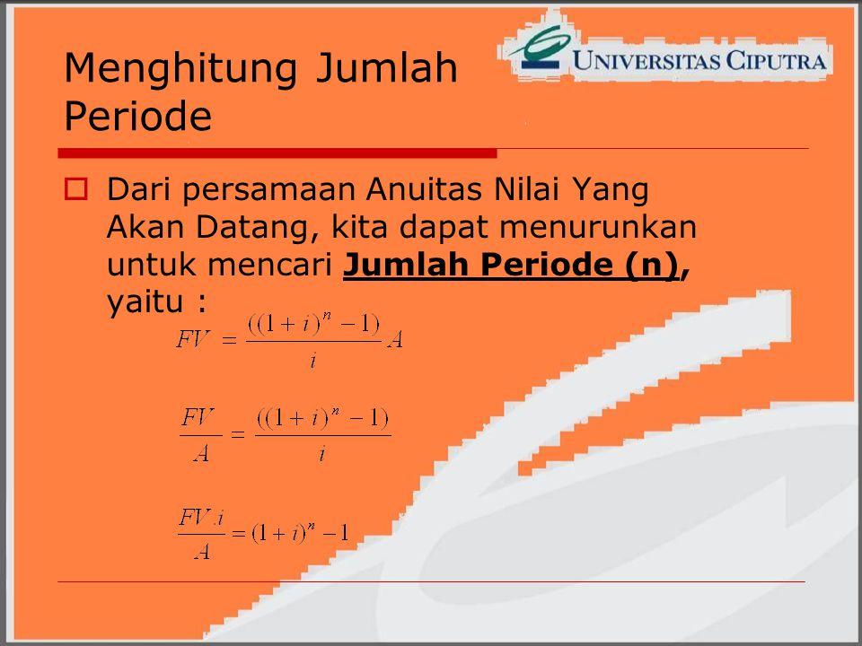 Menghitung Jumlah Periode  Dari persamaan Anuitas Nilai Yang Akan Datang, kita dapat menurunkan untuk mencari Jumlah Periode (n), yaitu :