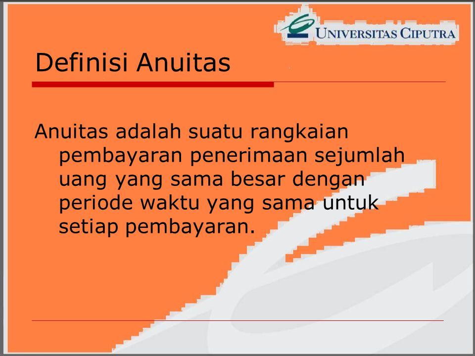 Definisi Anuitas Anuitas adalah suatu rangkaian pembayaran penerimaan sejumlah uang yang sama besar dengan periode waktu yang sama untuk setiap pembayaran.