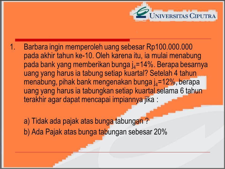 1.Barbara ingin memperoleh uang sebesar Rp100.000.000 pada akhir tahun ke-10.