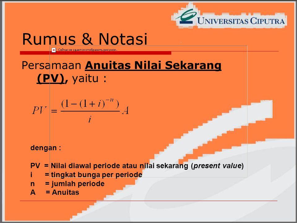 Rumus & Notasi Persamaan Anuitas Nilai Sekarang (PV), yaitu : dengan : PV = Nilai diawal periode atau nilai sekarang (present value) i = tingkat bunga per periode n = jumlah periode A = Anuitas