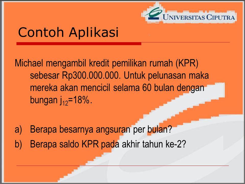 Contoh Aplikasi Michael mengambil kredit pemilikan rumah (KPR) sebesar Rp300.000.000.