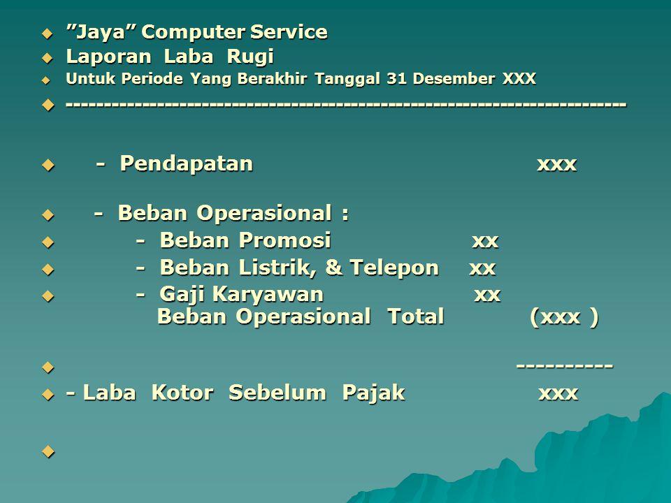 " ""Jaya"" Computer Service  Laporan Laba Rugi  Untuk Periode Yang Berakhir Tanggal 31 Desember XXX  ------------------------------------------------"