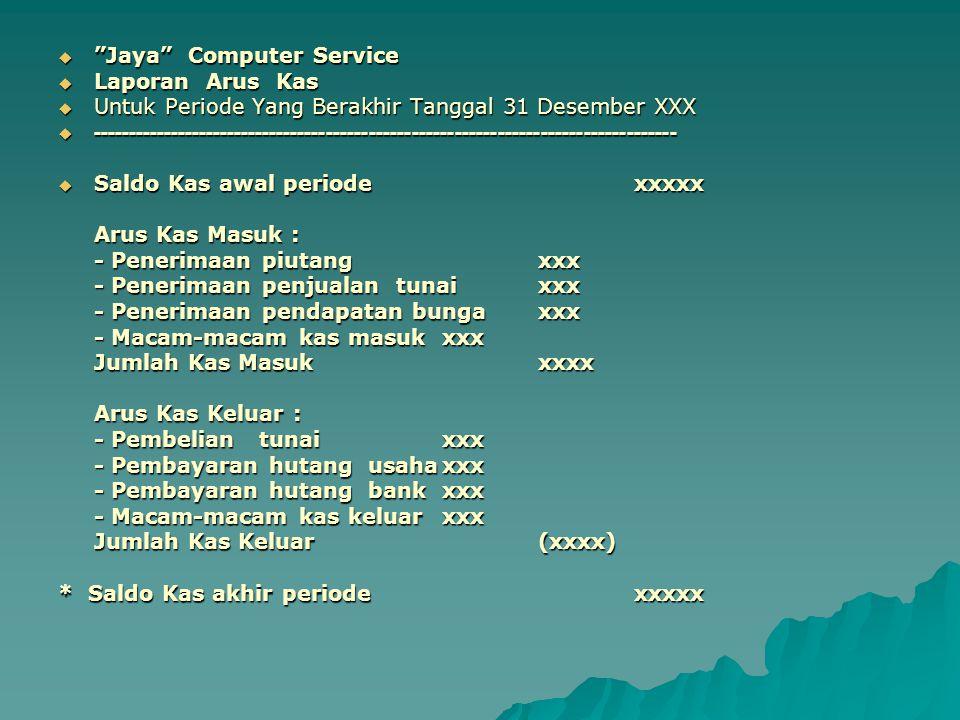 """ """"Jaya"""" Computer Service  Laporan Arus Kas  Untuk Periode Yang Berakhir Tanggal 31 Desember XXX  -------------------------------------------------"""