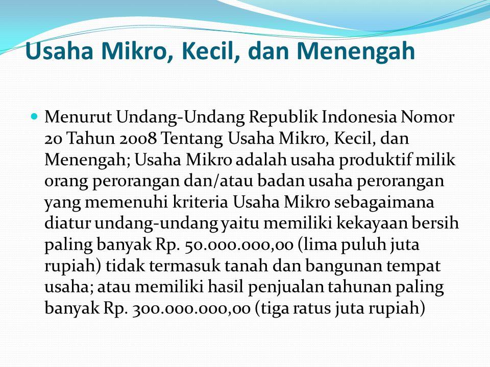 Usaha Mikro, Kecil, dan Menengah Menurut Undang-Undang Republik Indonesia Nomor 20 Tahun 2008 Tentang Usaha Mikro, Kecil, dan Menengah; Usaha Mikro ad
