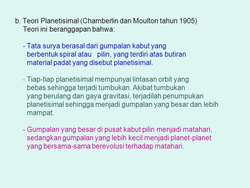 b. Teori Planetisimal (Chamberlin dan Moulton tahun 1905) Teori ini beranggapan bahwa: - Tata surya berasal dari gumpalan kabut yang berbentuk spiral