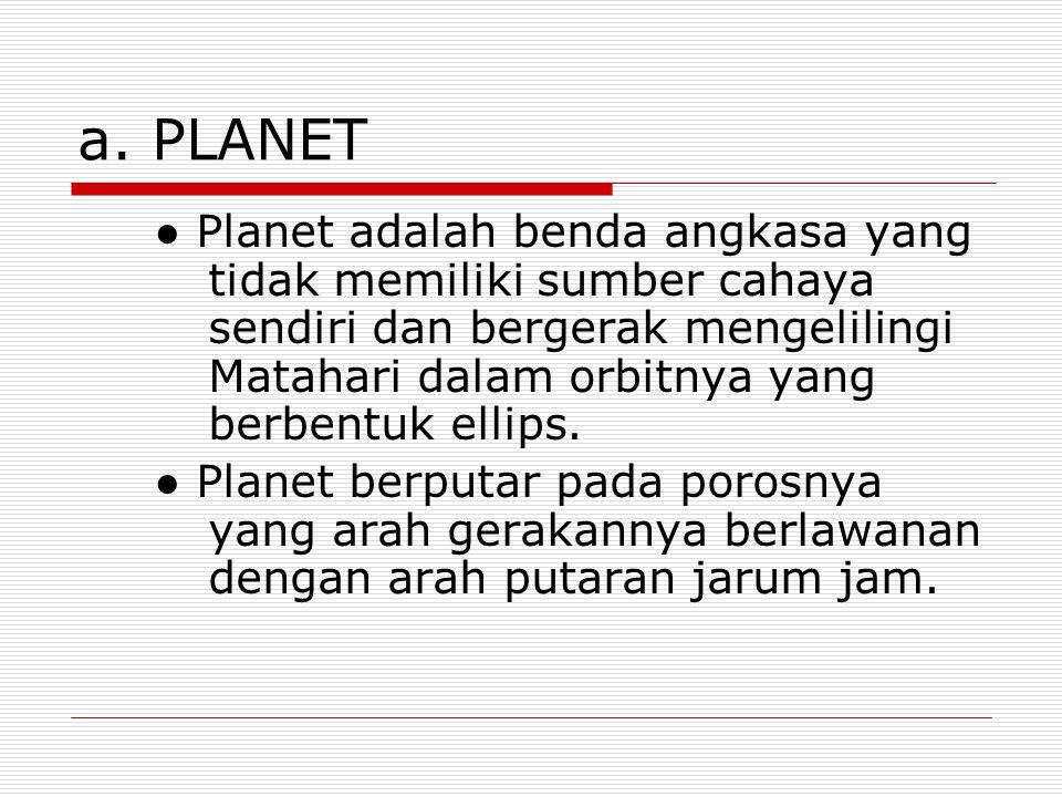 a. PLANET ● Planet adalah benda angkasa yang tidak memiliki sumber cahaya sendiri dan bergerak mengelilingi Matahari dalam orbitnya yang berbentuk ell