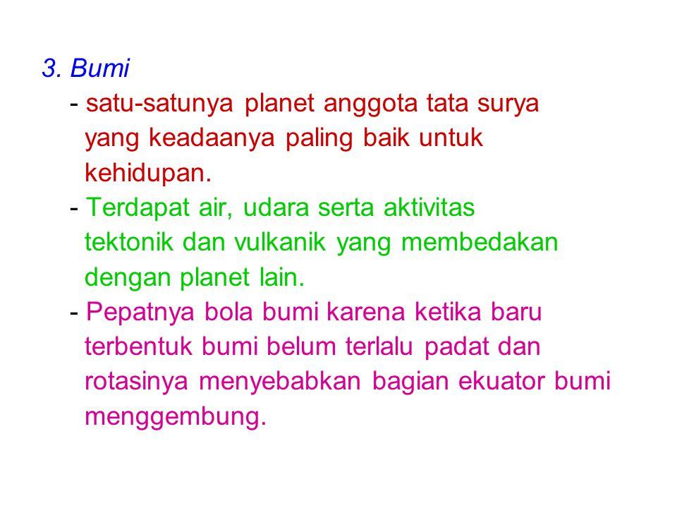 3. Bumi - satu-satunya planet anggota tata surya yang keadaanya paling baik untuk kehidupan. - Terdapat air, udara serta aktivitas tektonik dan vulkan