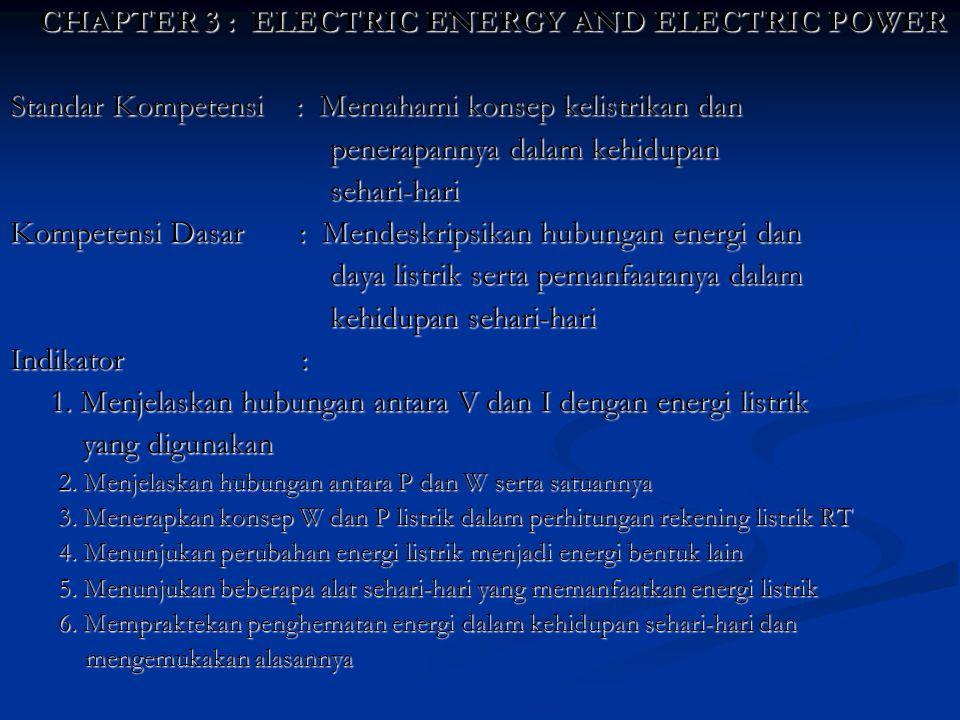 CHAPTER 3 : ELECTRIC ENERGY AND ELECTRIC POWER Standar Kompetensi : Memahami konsep kelistrikan dan penerapannya dalam kehidupan sehari-hari Kompetens