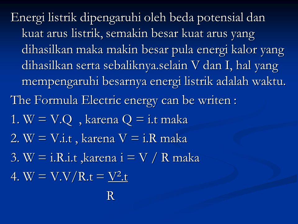 Energi listrik dipengaruhi oleh beda potensial dan kuat arus listrik, semakin besar kuat arus yang dihasilkan maka makin besar pula energi kalor yang