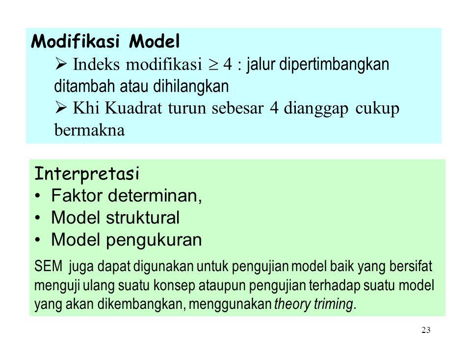 22 Pengujian Model Overall (Goodness of Fit Model) No Goodness-of-fitCut-offKeterangan 1Khi KuadratNonsignifikan 2RMRKecilDigunakan untuk n besar 3RMS