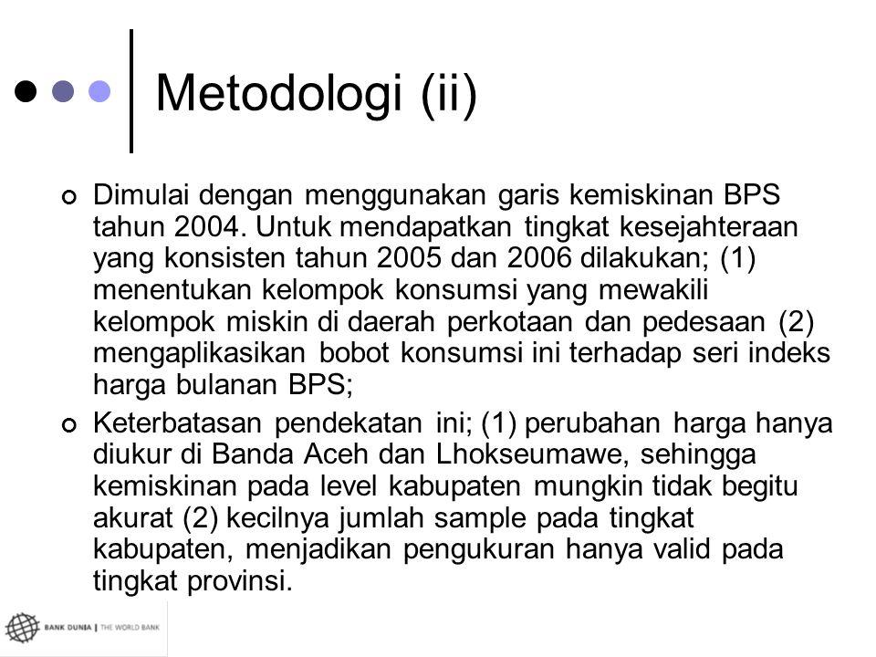 Metodologi (ii) Dimulai dengan menggunakan garis kemiskinan BPS tahun 2004. Untuk mendapatkan tingkat kesejahteraan yang konsisten tahun 2005 dan 2006