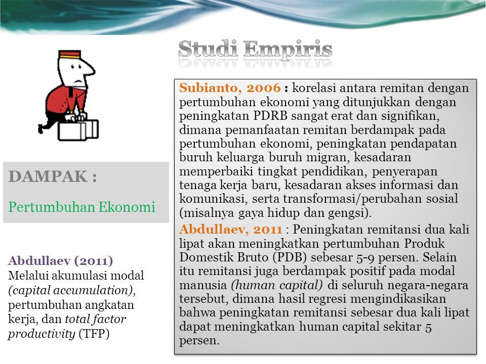 DAMPAK : Pertumbuhan Ekonomi Subianto, 2006 : korelasi antara remitan dengan pertumbuhan ekonomi yang ditunjukkan dengan peningkatan PDRB sangat erat