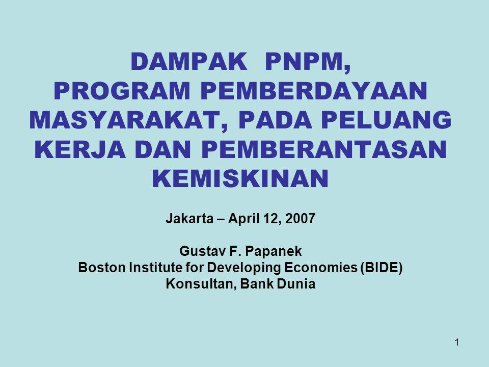1 DAMPAK PNPM, PROGRAM PEMBERDAYAAN MASYARAKAT, PADA PELUANG KERJA DAN PEMBERANTASAN KEMISKINAN Jakarta – April 12, 2007 Gustav F. Papanek Boston Inst