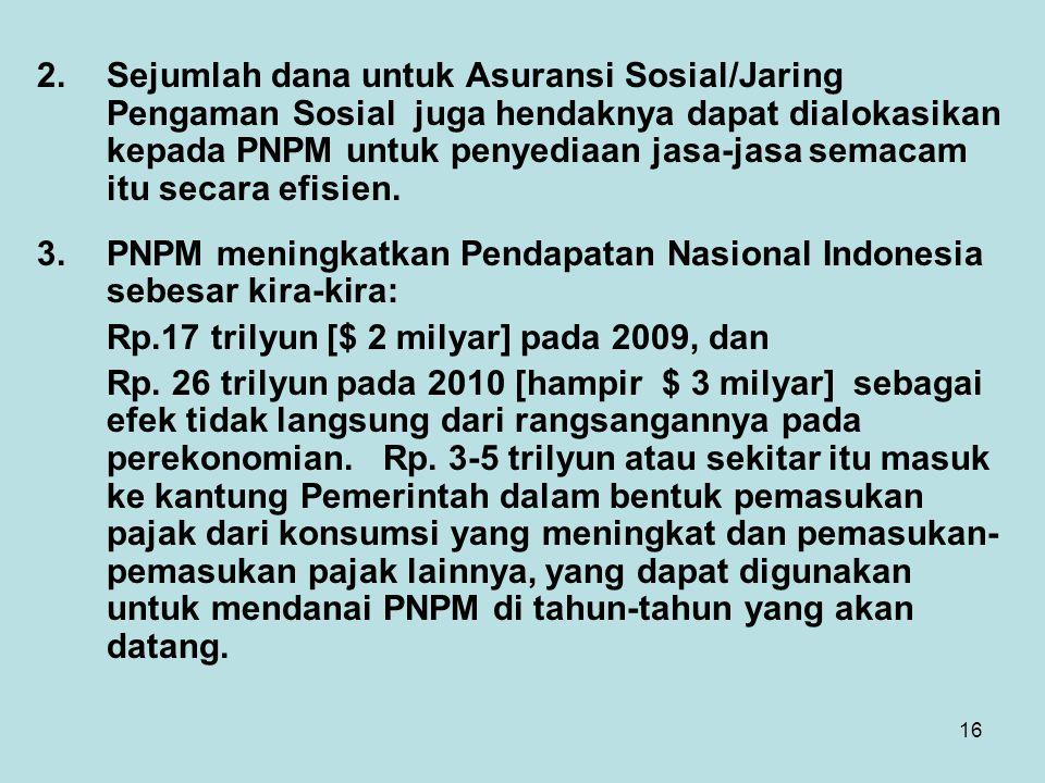 16 2.Sejumlah dana untuk Asuransi Sosial/Jaring Pengaman Sosial juga hendaknya dapat dialokasikan kepada PNPM untuk penyediaan jasa-jasa semacam itu s