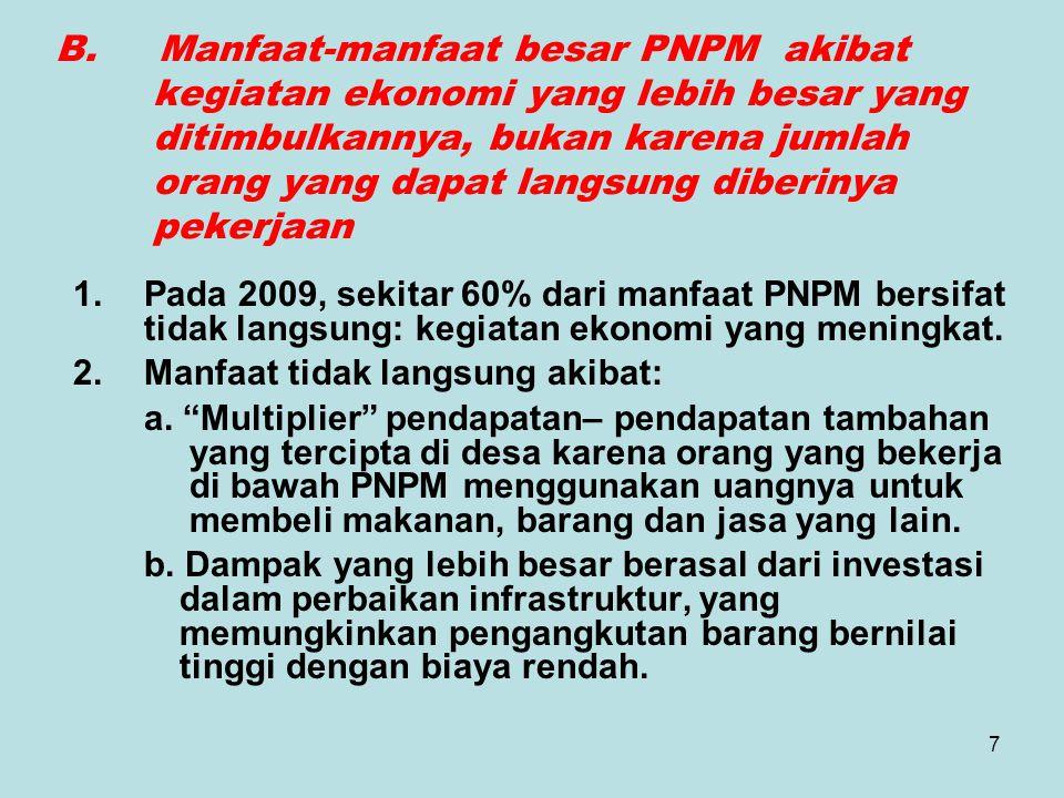 7 B. Manfaat-manfaat besar PNPM akibat kegiatan ekonomi yang lebih besar yang ditimbulkannya, bukan karena jumlah orang yang dapat langsung diberinya