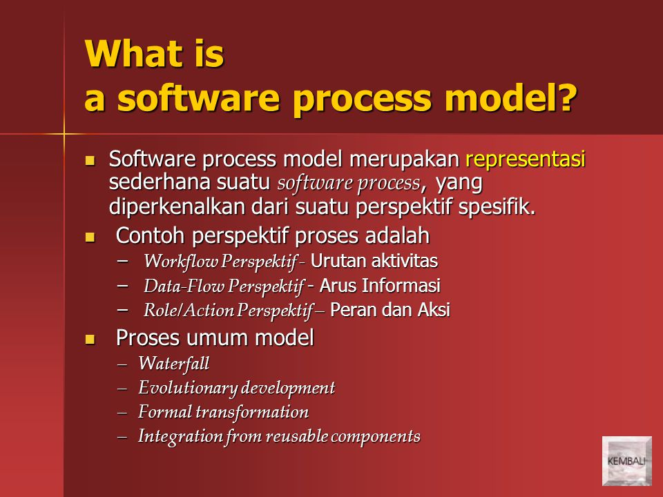What is a software process model.