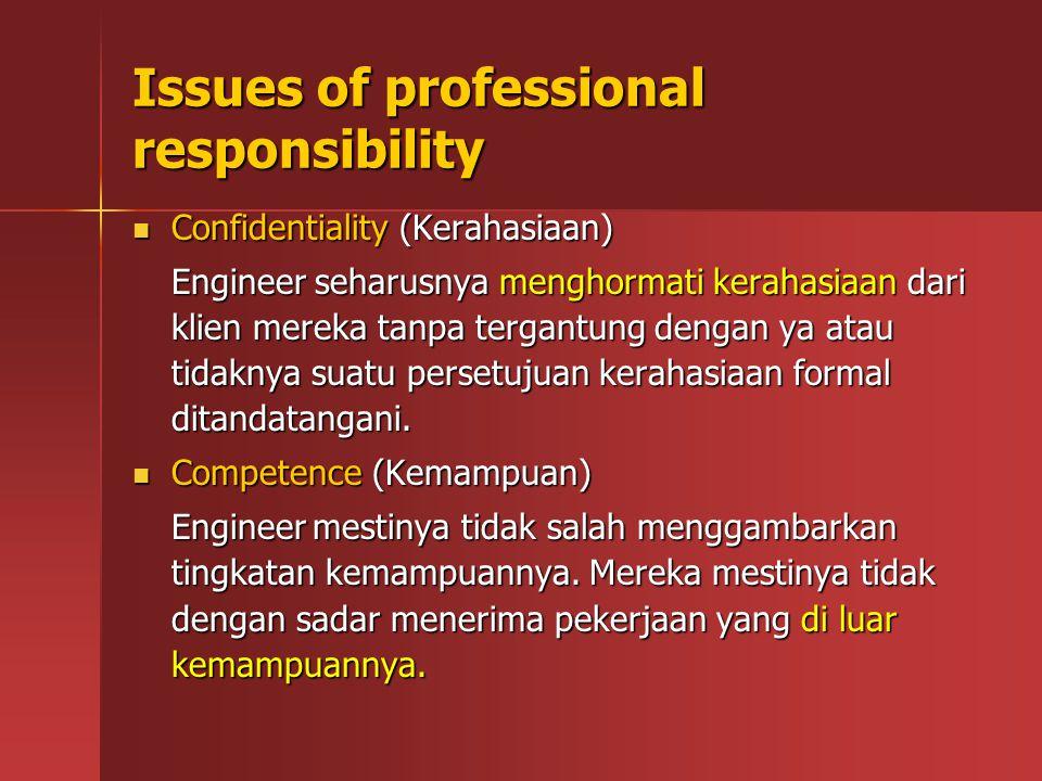Issues of professional responsibility Confidentiality (Kerahasiaan) Confidentiality (Kerahasiaan) Engineer seharusnya menghormati kerahasiaan dari kli