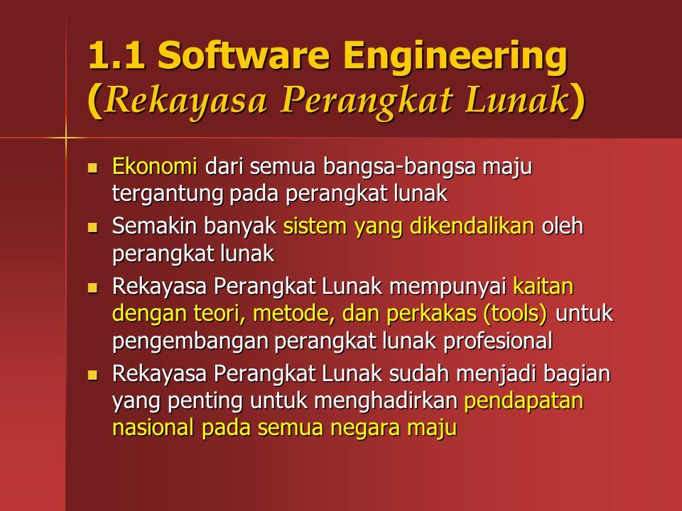 1.1 Software Engineering ( Rekayasa Perangkat Lunak ) Ekonomi dari semua bangsa-bangsa maju tergantung pada perangkat lunak Ekonomi dari semua bangsa-