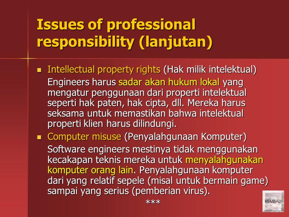 Issues of professional responsibility (lanjutan) Intellectual property rights (Hak milik intelektual) Intellectual property rights (Hak milik intelekt