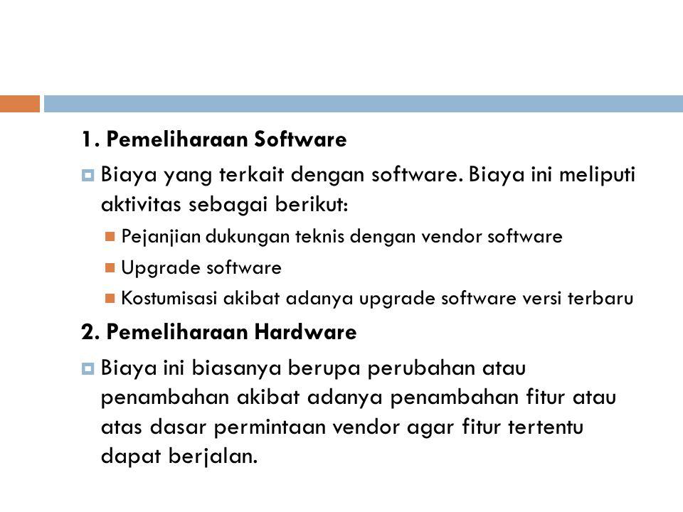 1.Pemeliharaan Software  Biaya yang terkait dengan software.