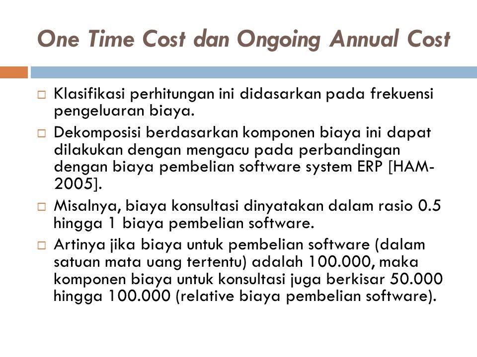 One Time Cost dan Ongoing Annual Cost  Klasifikasi perhitungan ini didasarkan pada frekuensi pengeluaran biaya.