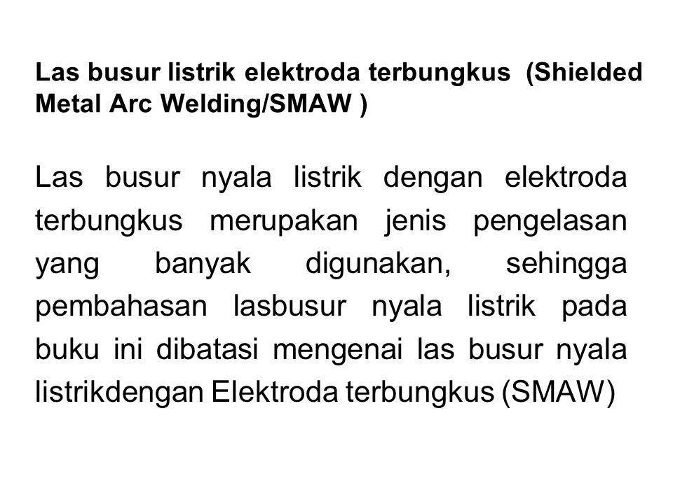 Las busur listrik elektroda terbungkus (Shielded Metal Arc Welding/SMAW ) Las busur nyala listrik dengan elektroda terbungkus merupakan jenis pengelas