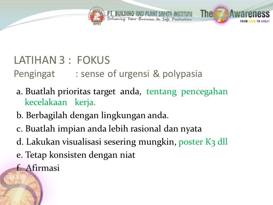 LATIHAN 3 : FOKUS Pengingat : sense of urgensi & polypasia a. Buatlah prioritas target anda, tentang pencegahan kecelakaan kerja. b. Berbagilah dengan