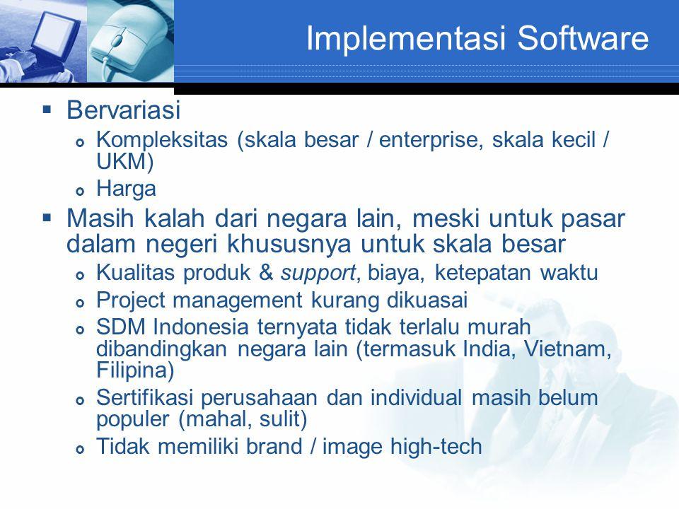 Implementasi Software  Bervariasi  Kompleksitas (skala besar / enterprise, skala kecil / UKM)  Harga  Masih kalah dari negara lain, meski untuk pa